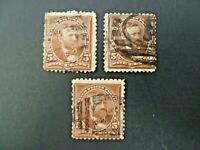 USA Lot of Three 1894 1st Bureau $.05 Grant #255 Used - See Description