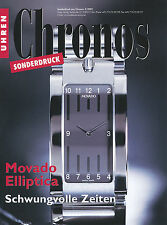 Sonderdruck Armbanduhr Movado Elliptica Chronos 3/02 2002 special print Uhren