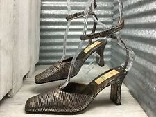 Wild Rose Metallic Silver Bronze Striped Ankle wrap coil Women's Size 8