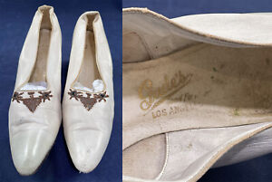 Vintage Gude's Los Angeles Edwardian White Kid Leather Steel Cut Beaded Shoes