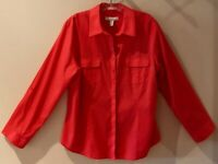 Flawless Chico's 2 (L) Blouse Red-Orange Button Down Long Slv 97% Cotton LOOK