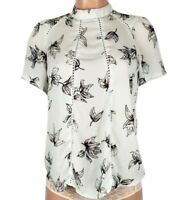 Sienna Sky Women's Size Small Off White Floral Blouse Top Short Sleeve High Neck