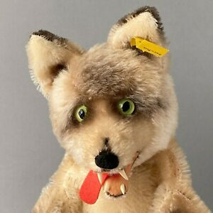 Rare STEIFF Loopy Wolf Hand Puppet ~ ALL IDs 1959-67 ~ Glass Eyes German Mohair