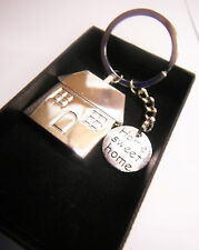 Home Sweet Home Keyring Chrome Metal House Key Chain Gift Boxed NEW