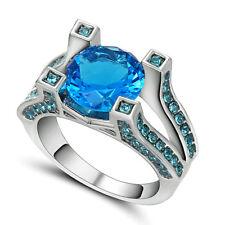 Size 7 Aquamarine Sapphire CZ 10kT White Gold Filled Wedding/Engagement Ring