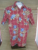 JOE MARLIN Men Hawaiian ALOHA shirt pit to pit 23 sz L cotton rayon floral luau