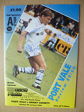 FA CUP RD Three 1990- PORT VALE v DERBY COUNTY Signed by Simon Mills & Others