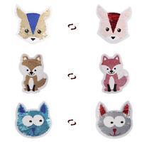 fox reversible change color sequins sew on patches for clothes diy applique FT