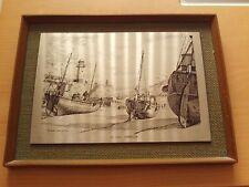 VINTAGE COLLECTABLE METAL ETCHING PICTURE OF ST IVES HARBOUR IN WOODEN FRAME