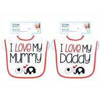 I Love Mummy / Daddy Baby Bibs Waterproof Weaning Messy