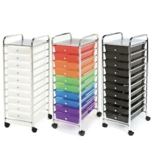 Seville Classics, 10 Drawer Rolling Organizer Cart (Choose Color)