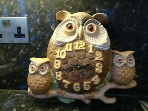 Superb vintage large Owl & young ceramic clock