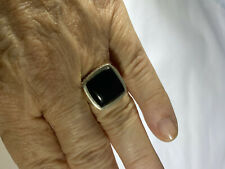 Onyx Cabachon Sterling Silver Ring 8 Large Square Braided Rope Bezel Set