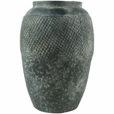 Large Tall Rustic Urn Vase Planter Jar, Teal Green Blue Vesubio Textured