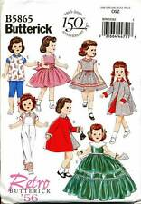 "BUTTERICK SEWING PATTERN 5865 18"" VINTAGE '56 DOLL CLOTHES: DRESS TOP PANTS COAT"