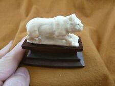 (LYNX-7) medium white Lynx cat Bobcat shed ANTLER figurine Bali detailed carving