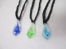 GLOW IN DARK Flower Black Hemp Necklace Glass - You Choose (1) Color Pendant