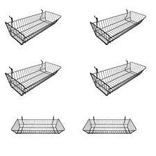 6 Pc Black Large Double Sloping Basket Slatwall Gridwall Pegboard Rack Fixture