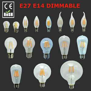 Dimmable E27 B22 E14 2/4/6/8/12W LED Edison Retro Filament Light Lamp Bulb