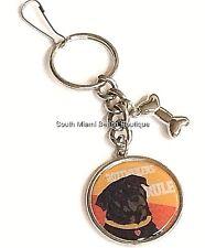 Silver Rottweiler Dog Keychain Purse Tag Breed Rescue Bone Charm Plated USSeller