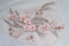 Pink Beaded 3D Flower Lace Applique Motif Bridal Embroidery Sewing Lace Patch