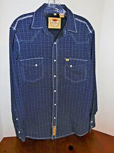 Men's Larry Mahan Cowboy Collection L/S Medium Shirt/Pearl Snap Blue/White Print