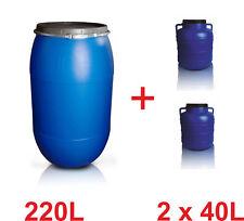 Set Fässer Kunststofffässer 220L + 2 x 40 Lebensmittelfass Getränkefass Tonne