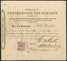 India: Kunchanpore Tea Co. Ltd., 1000 rupee shares, 1876