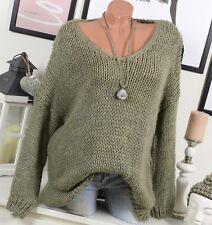 douillet extra-large Pull grossier en tricot 36 38 40 Blogger Hiver Kaki alpaga