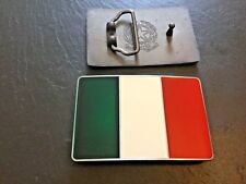 ITALY FLAG BELT BUCKLE New Metal Pewter Italian Tricolour il Tricolore