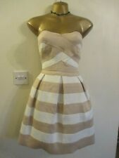 NWT River Island Nude White Strapless formal Skater dress 8