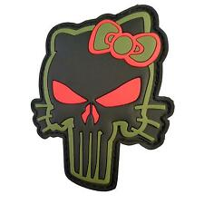 morale hello kitty punisher skull PVC rubber 3D olive drab parche hook patch