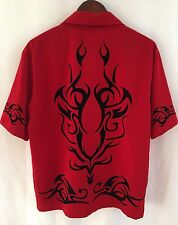 JNCO JEANS MEN S/S SHIRT RED FLAMES M BOWLING ROCKABILLY