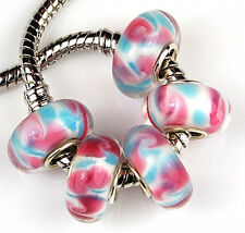 5pcs Large Hole Pink Aqua Blue Lampwork Glass Beads Fit European Charm Bracelet