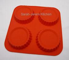 4 Cella Rosso FLAN Pan/Crostata Stampo in silicone Bakeware Torta da Forno Stampo Pasticceria Latta