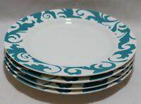 Ciroa Fiori White / Teal Swirls Porcelain Dinner Plates Set of Four New