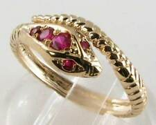 DIVINE 9K 9CT GOLD SNAKE INDIAN RUBY COILED SNAKE ART DECO INS RING FREE RESIZE