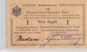 Deutsch-Ostafrikanische Afrique Allemande 1 Roupie 1.11.1915 n° 3691  Pick 9Ab