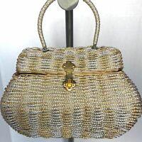 Vintage Delill Woven Metal Wicker Box Purse Gold & Silver Formal Handbag Evening