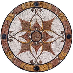 "MD183, 25.59"" Handmade Pattern Medallion Mosaic Art"