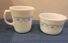 Rare Vintage Pyrex Corning Ware Morning Blue Creamer and Sugar