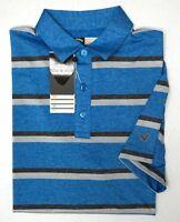 NWT $70 Callaway Polo Short Sleeve Shirt Mens Blue Striped Mens S M L XL Grey