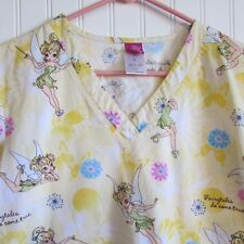 Disney Scrub Scrub Top Women's Size M Yellow Tinkerbell Print Medical Dental