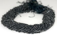 2MM BLACK OBSIDIAN GEMSTONE FACETED ROUND 2MM LOOSE BEADS 16""