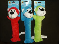 "Set of 3 Stuffed Dog Toys Skinny 11.5"" Long Pet Puppy Play Squeaker All 3 Colors"