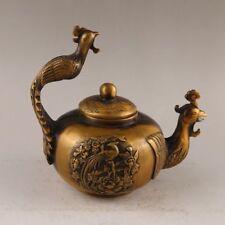 China antique handmade bronze Phoenix carving flower Statues Decoration