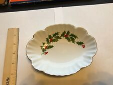 Fine Porcelain Vintage Candy / Nut / Lemon Dish - From Japan - Holly Gold Trim