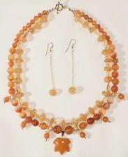 Necklace with Hand Carved Genuine Antique or Vintage Amber Leaf Pendant