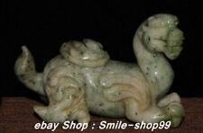 8.5Cm China Natural Hetian Green Jade Carving Fengshui PiXiu Beast Statue