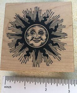 "PSX Sun Rubber Stamp G-1471 1995 Vintage Celestial Sunshine Sunbeams 3""x3"""